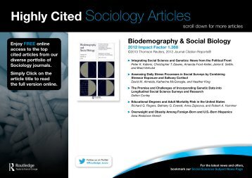 Highly Cited Sociology Articles
