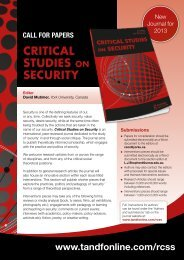 CRITICAL STUDIES ON SECURITY - Taylor & Francis