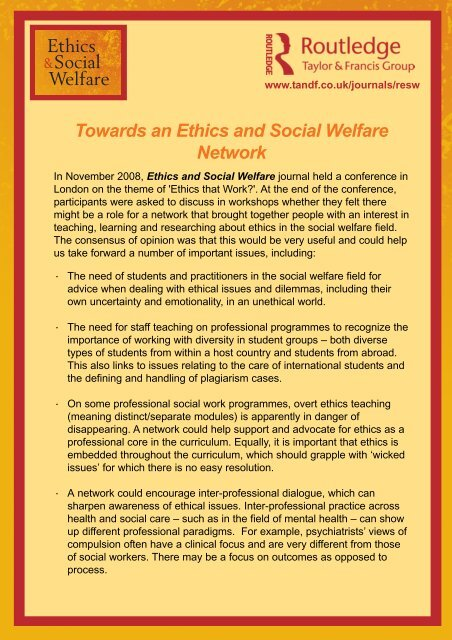 Ethics and Social Welfare Network pmd