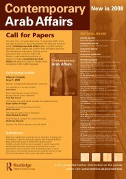 Contemporary Arab Affairs Call - Taylor & Francis