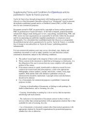 Supplemental Terms and Conditions for ... - Taylor & Francis