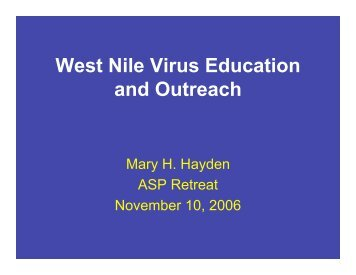 West Nile Virus Education and Outreach - ASP