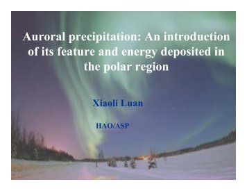 Auroral precipitation: An introduction of its feature and energy ...