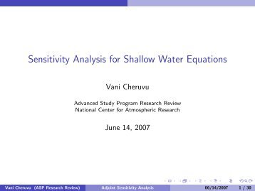 Sensitivity Analysis for Shallow Water Equations - Advanced Study ...