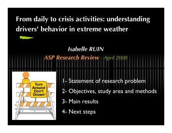 From daily to crisis activities: understanding drivers' behavior in ...
