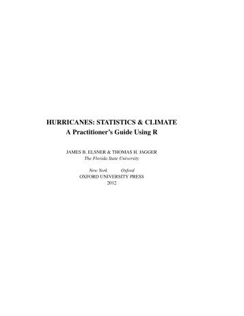 HURRICANES: STATISTICS & CLIMATE A Practitioner's Guide ...