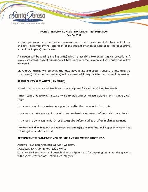 Implant Restoration Consent Form