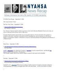 NYAHSA News Recapа–аSeptember 9, 2008 This recap contains 9 ...