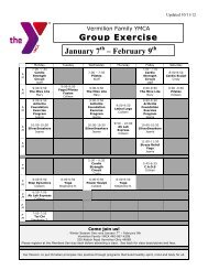 Group Exercise Schedule January 7 – February 9 - the YMCA of ...