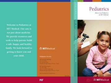 How to Use Pediatrics at MIT Medical