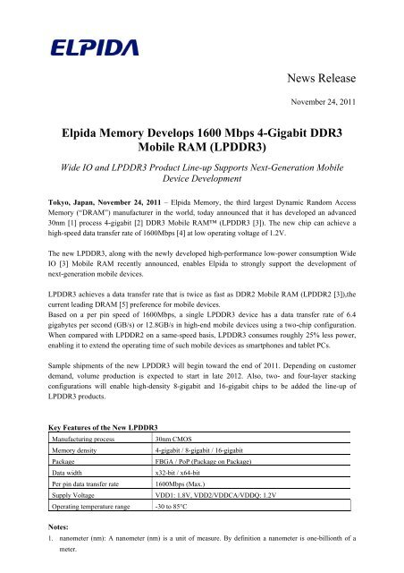 Lpddr3 Elpida Memory Inc