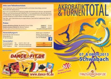 Flyer Akrobatik & Turnen ToTal 2013 - Tanzworkshop.de