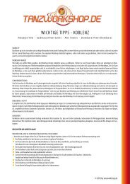 WICHTIGE TIPPS - KOBLENZ - Tanzworkshop.de