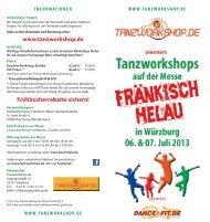 Flyer Workshops in Würzburg 2013 - Tanzworkshop.de