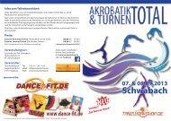 Flyer Akrobatik & Turnen ToTal 2013 - Tanzworkshop.de