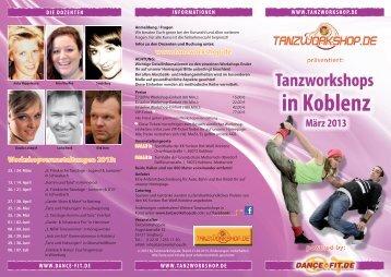 Flyer Workshops in Koblenz 2013 - Tanzworkshop.de