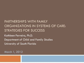 Strategies for Partnering with Families - Technical Assistance ...