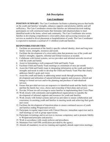 Care Coordinator Job Description - Technical Assistance Partnership