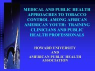 Medical and Public Health Approaches to Tobacco Control Among ...