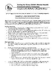 Sample Job Description - Social Marketing/Communications Manager