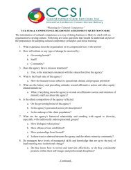 Cultural Competence Readiness Assessment Questionnaire