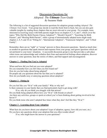 Discussion Questions for Adopted: The Ultimate ... - Tapestry Books