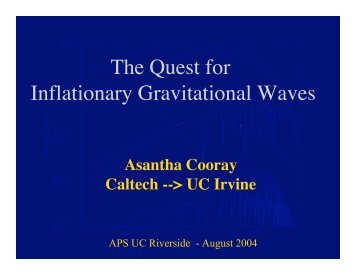 The Quest for Inflationary Gravitational Waves - TAPIR Group at ...