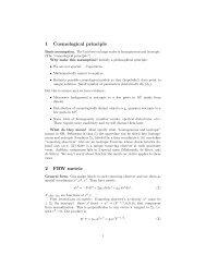 1 Cosmological principle 2 FRW metric - TAPIR Group at Caltech