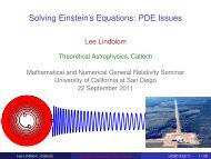 Solving Einstein's Equations: PDE Issues - TAPIR Group at Caltech