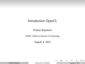 Introduction OpenCL - TAPIR Group at Caltech