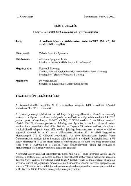 A védőnői körzetek kialakításáról szóló 26/2009. - Tapolca