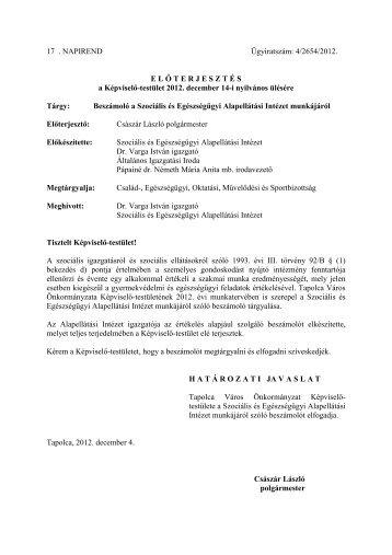 Beszámoló a Szociális és Egészségügyi Alapellátási ... - Tapolca