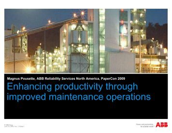 Enhancing productivity through improved maintenance ... - tappi