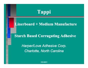 Starch Based Corrugating Adhesive - tappi
