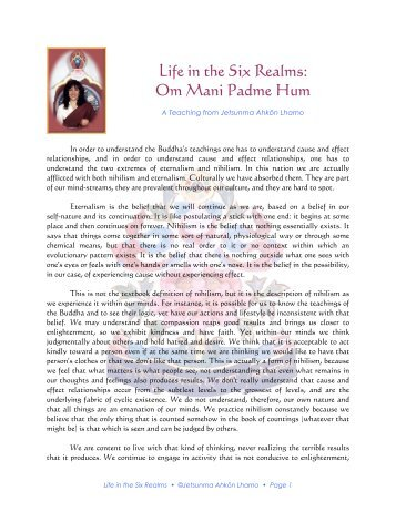 Life in the Six Realms: Om Mani Padme Hum