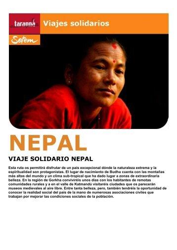 VIAJE SOLIDARIO NEPAL - Viajes Tarannà