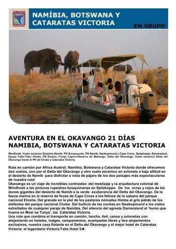 AVENTURA EN EL OKAVANGO 21 DÍAS NAMIBIA ... - Viajes Tarannà