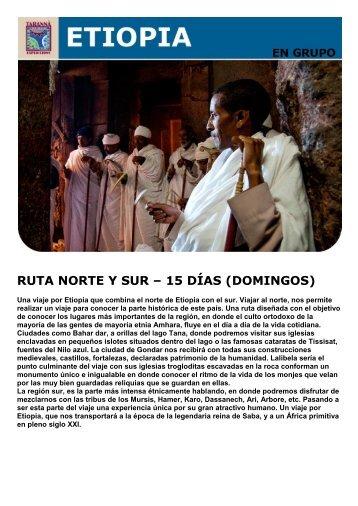 RUTA NORTE Y SUR – 15 DÍAS (DOMINGOS) - Viajes Tarannà