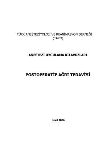 postoperatif ağrı tedavisı - TARD