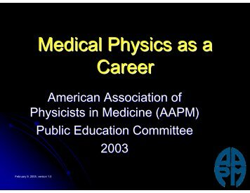 Medical Physics as a Career - Tarleton State University