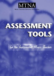 Assessment Tools For The Independent Teacher - MTNA Certification