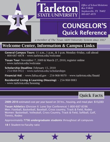 Counselor's Quick Reference Sheet - Tarleton State University