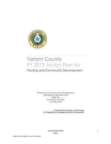 PY 2013 Action Plan - Draft - Tarrant County