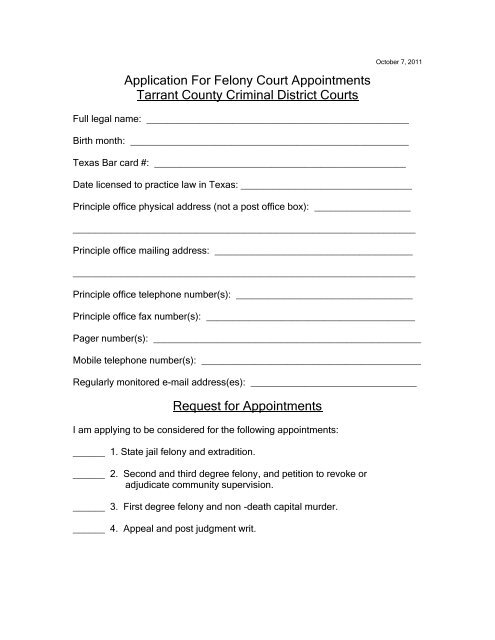 Application For Felony Court Appointments Tarrant County
