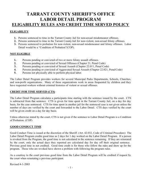 Labor Detail Eligability rules - Tarrant County