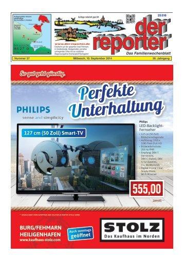 der reporter - Das Familienwochenblatt für Fehmarn 2014 KW 37