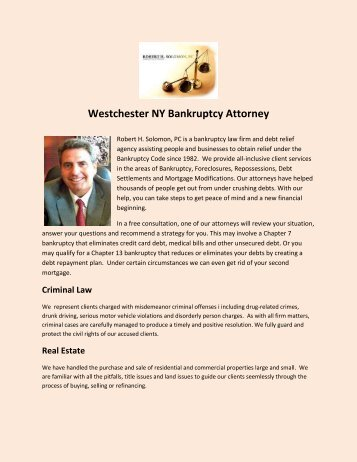 Westchester NY Bankruptcy Attorney