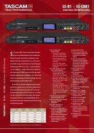 Flyer Tascam SS-CDR1 und SS-R1 PDF
