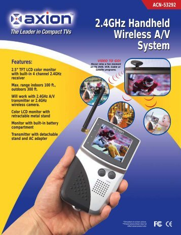 Features: 2.4GHz Handheld Wireless A/V System 2.4GHz Handheld ...
