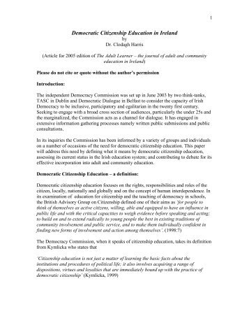 citizenship education 2 essay Education for citizenship raises key questions—what is education for what is the role of the school in developing positive attitudes amongst young people.